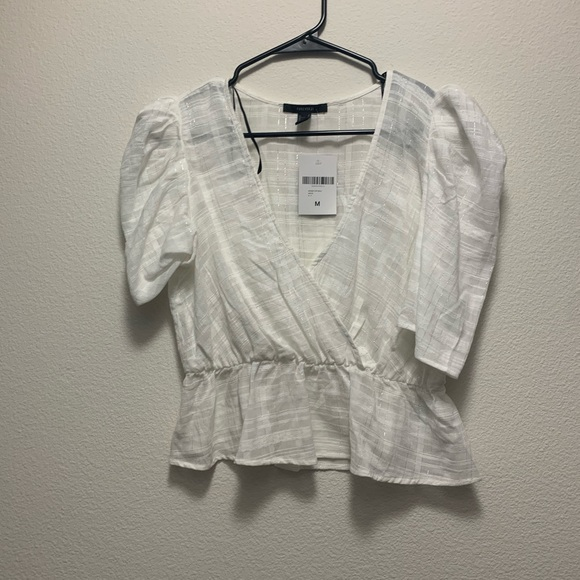 Forever 21 White Blouse with Sparkle Stripes Sz M